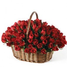 100 Red Roses in Basket for sweet Mom