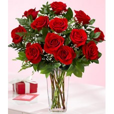 12 Red Roses with Chocolate Box