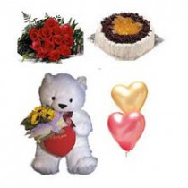 Cake, Roses, Teddy and Baloon