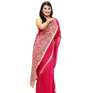Red half slik sharee for Bangla nababarsha