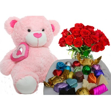 Soft teddy bear,chocolate,flower for love in Bangladesh