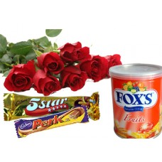 chocolate and flower gift for valentine