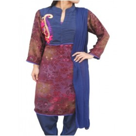 Party Wear three Piece with embroidery  hand work