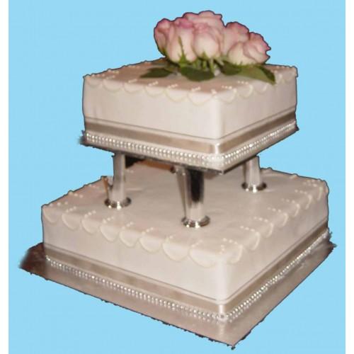 Images Of Square Shape Cake : 2 Tiar Square Shape Cake