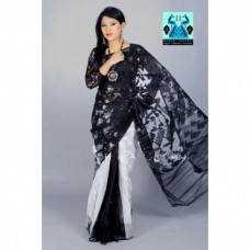 Half silk Blak-white jamdani sharee