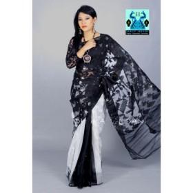 Half silk Blak-white jamdani sharee