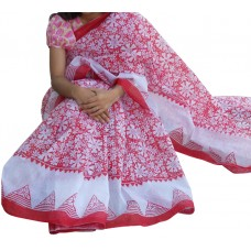 Full Block print cotton cotta sharee