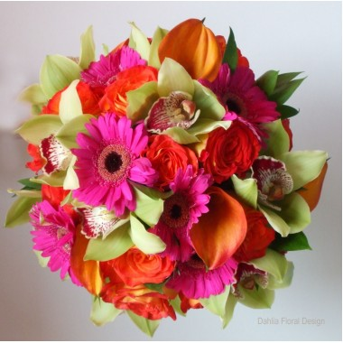 Valentine day flower: Gerbera,Orchid rose bouquet