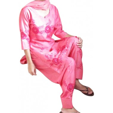 Pink color dhupiyan three piece