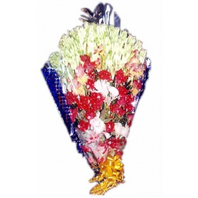 Bouquet with Red Rose & Rajanigandha for loving one