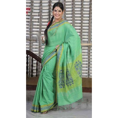 Green color ande cotton sharee gift to Bangladesh