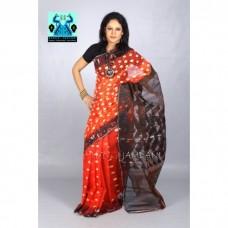 Deep Orange  half silk jamdani sharee