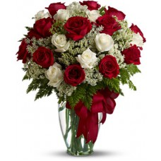 White and Red Rose in Vase