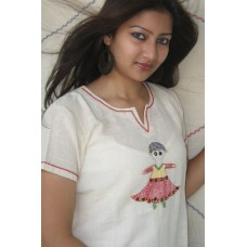 Soft cotton white dress for Pohela boishakh