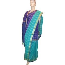 Tangail Cotton Shari blue,sky &golden(suit)