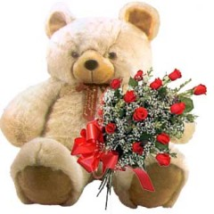 Large Teddy and Roses