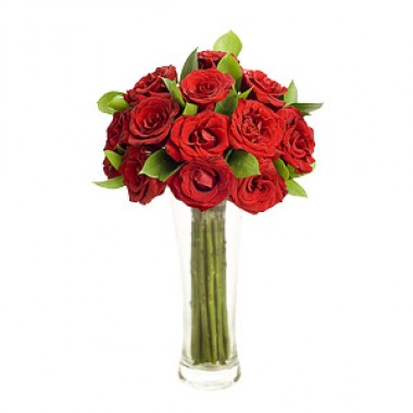 10 Red Roses in Vase