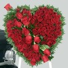 100 Red Roses in Heart Bouquet