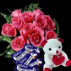 Red roses, Chocolate and Teddy