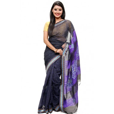 Bright violet half silk sharee for pohela boishakh