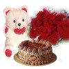 Cake, Roses and Teddy -1