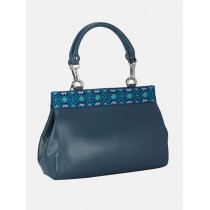 Teal Embroidered Leather Bag
