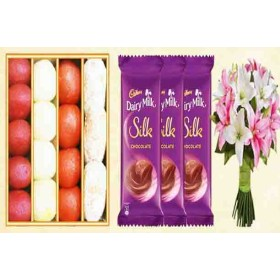 Sweets Box, Chocolate & Lily Flowers Combo