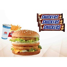 Double Chicken Burger With Snickers Chocolate Combo