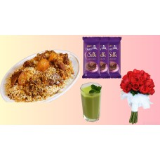 Biriyani combo with chocolate and rose for 1 person