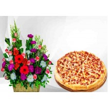 Mixed Flowers With  BBQ Pizza
