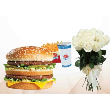 Double Beef Burger With 10 White Roses Combo