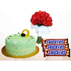Delicious & Beautiful cake with Snickers & Rose Combo