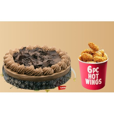 Fudge Cake (1 Kg) With 6 Pcs Hot Chicken Wings Combo