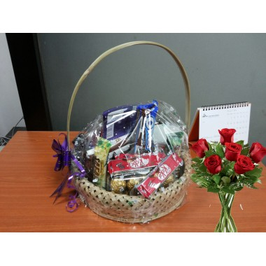 Chocolate basket with flower for valentine day