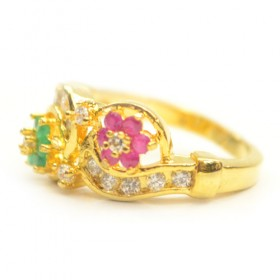 Golden color ring with pnk and green stone