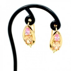 Golden pink stone ear ring