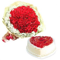 Heart Cake and Red Roses