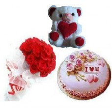 Cake, Roses and Teddy