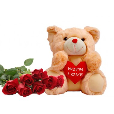 Cute teddy bear gift with rose for valentine day