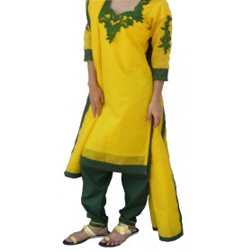Yellow and green three pieces with embroidery yoak